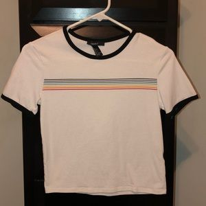 forever 21 cropped tee w rainbow stripe